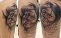 Portrait eines Madchens und eines Clowns  Tätowierung  - Tattoo